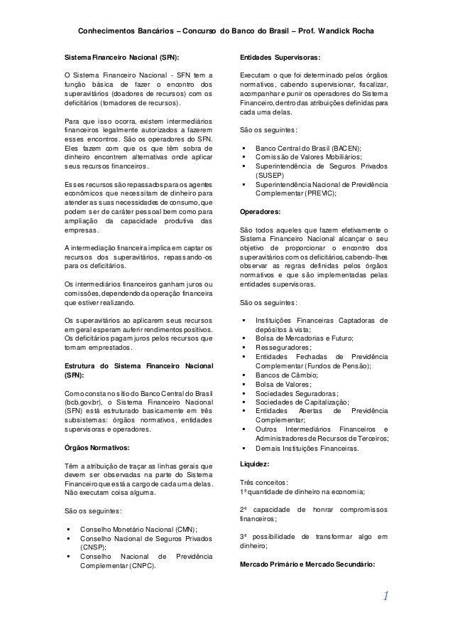 Conhecimentos Bancários – Concurso do Banco do Brasil – Prof. Wandick Rocha 1 Sistema Financeiro Nacional (SFN): O Sistema...
