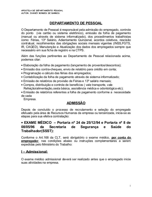 APOSTILA DE DEPARTAMENTO PESSOAL AUTOR: IVANEY BORGES DE BARROS  DEPARTAMENTO DE PESSOAL O Departamento de Pessoal é respo...