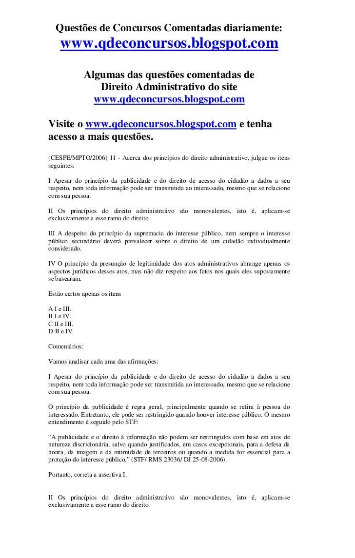 Questões de Concursos Comentadas diariamente:     www.qdeconcursos.blogspot.com               Algumas das questões comenta...