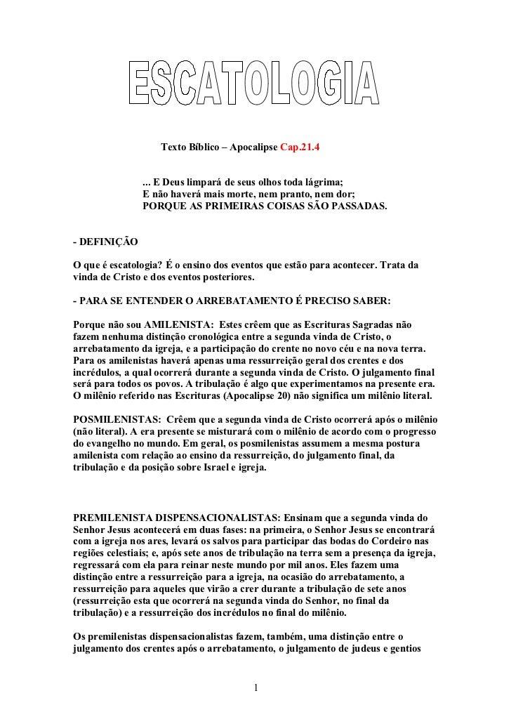 DOWNLOAD ESCATOLOGIA APOSTILA GRÁTIS GRATIS DE