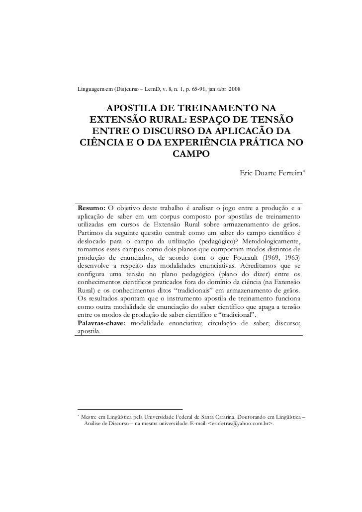 Linguagem em (Dis)curso – LemD, v. 8, n. 1, p. 65-91, jan./abr. 2008        APOSTILA DE TREINAMENTO NA      EXTENSÃO RURAL...