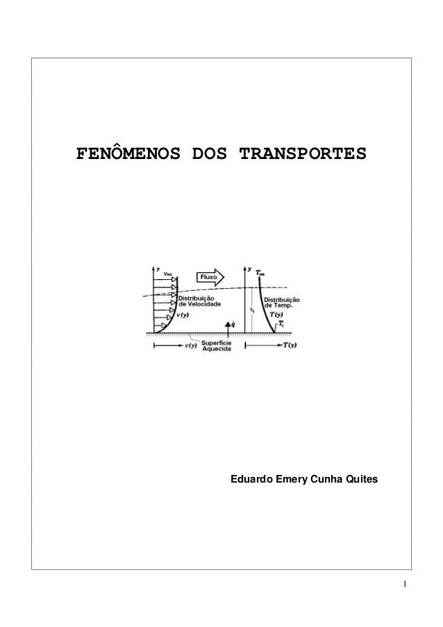 1 FENÔMENOS DOS TRANSPORTES Eduardo Emery Cunha Quites