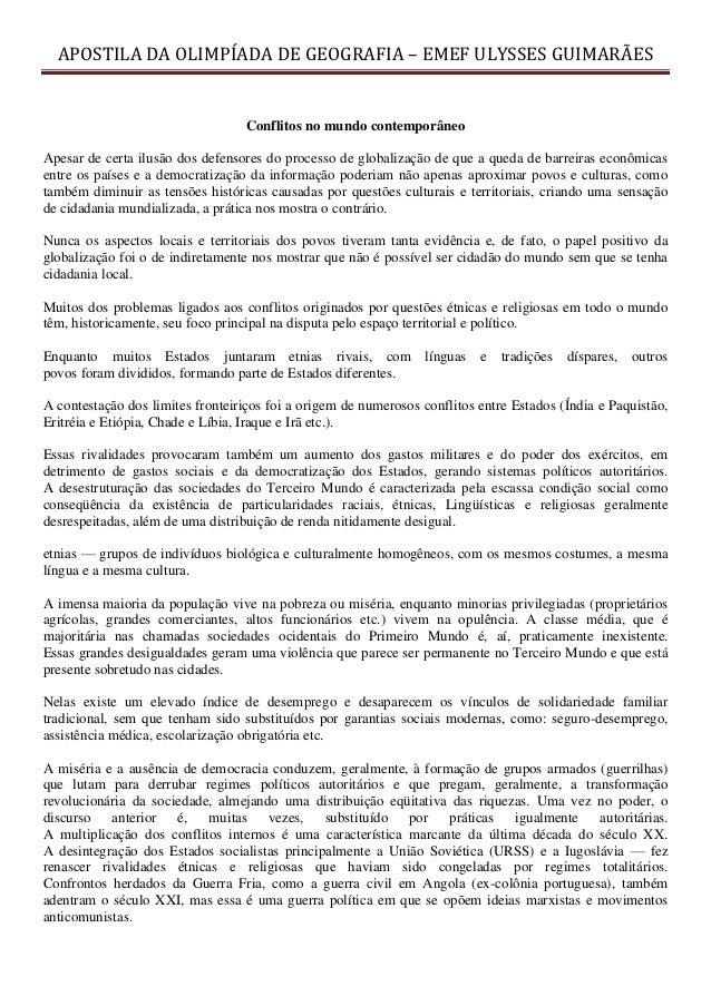 APOSTILA DA OLIMPÍADA DE GEOGRAFIA – EMEF ULYSSES GUIMARÃES                                   Conflitos no mundo contempor...