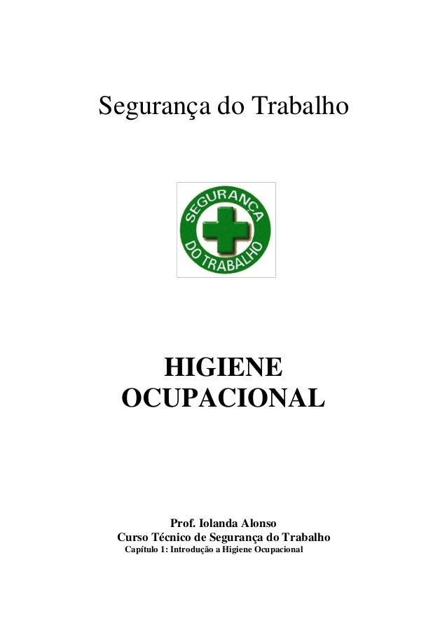 Segurança do Trabalho   HIGIENE OCUPACIONAL          Prof. Iolanda Alonso Curso Técnico de Segurança do Trabalho  Capítulo...