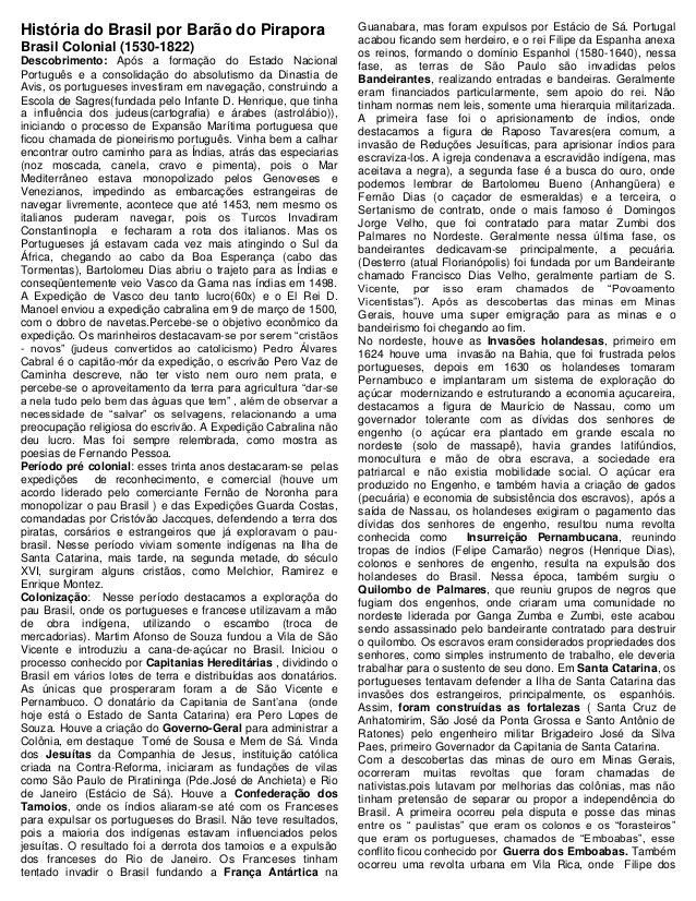 História do Brasil por Barão do Pirapora Brasil Colonial (1530-1822) Descobrimento: Após a formação do Estado Nacional Por...