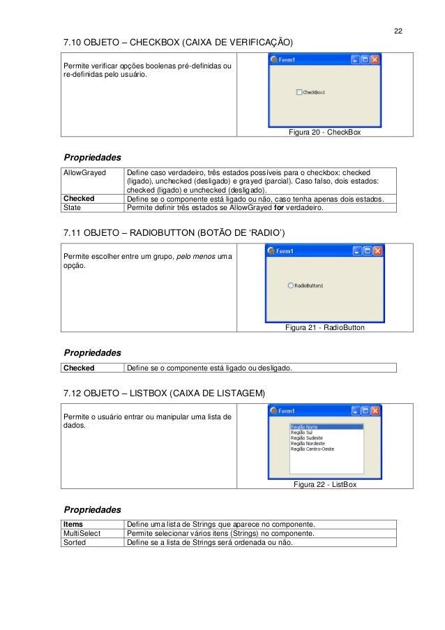 227.10 OBJETO – CHECKBOX (CAIXA DE VERIFICAÇÃO)Permite verificar opções boolenas pré-definidas oure-definidas pelo usuário...