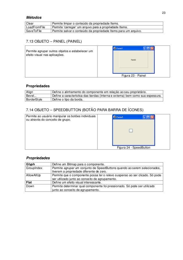 23MétodosClear             Permite limpar o conteúdo da propriedade Items.LoadFromFile      Permite 'carregar' um arquvo p...