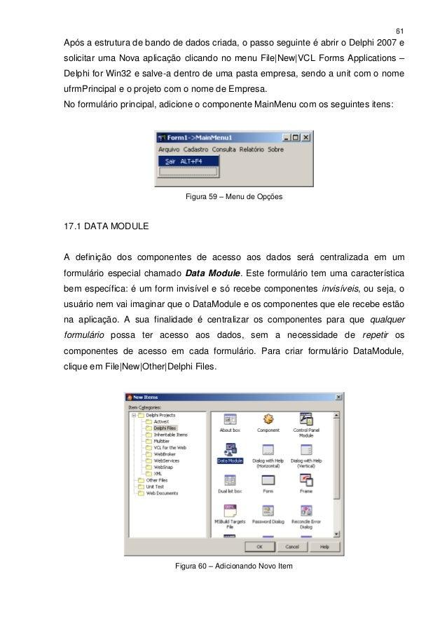 61Após a estrutura de bando de dados criada, o passo seguinte é abrir o Delphi 2007 esolicitar uma Nova aplicação clicando...