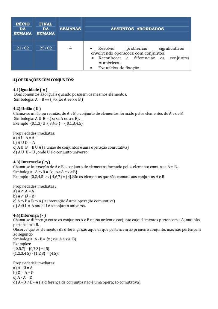 INÍCIO       FINAL   DA          DA          SEMANAS                       ASSUNTOS ABORDADOSSEMANA       SEMANA 21/02    ...