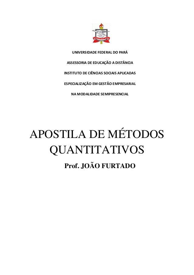 UNIVERSIDADE FEDERAL DO PARÁ  ASSESSORIA DE EDUCAÇÃO A DISTÂNCIA  INSTITUTO DE CIÊNCIAS SOCIAIS APLICADAS  ESPECIALIZAÇÃO ...