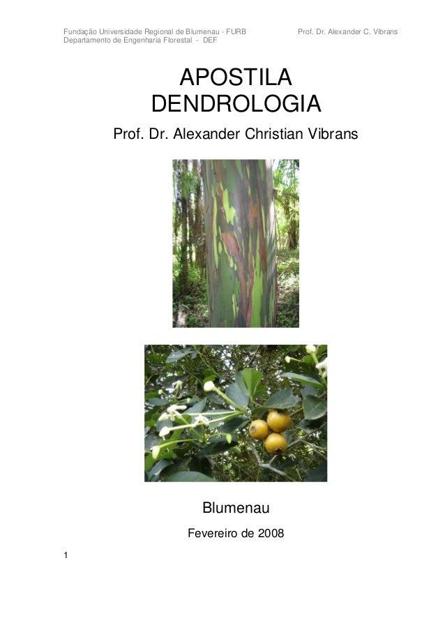 Fundação Universidade Regional de Blumenau - FURB    Prof. Dr. Alexander C. VibransDepartamento de Engenharia Florestal - ...