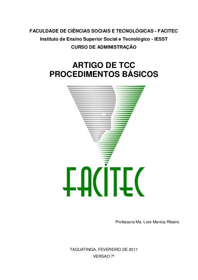 FACULDADE DE CIÊNCIAS SOCIAIS E TECNOLÓGICAS - FACITEC Instituto de Ensino Superior Social e Tecnológico - IESST CURSO DE ...