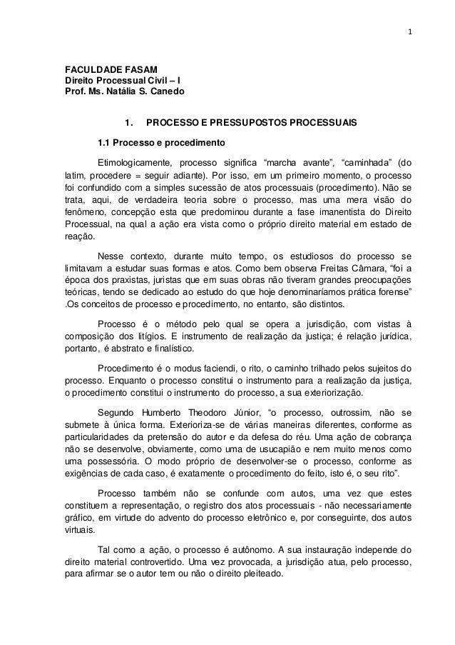 1 FACULDADE FASAM Direito Processual Civil – I Prof. Ms. Natália S. Canedo 1. PROCESSO E PRESSUPOSTOS PROCESSUAIS 1.1 Proc...