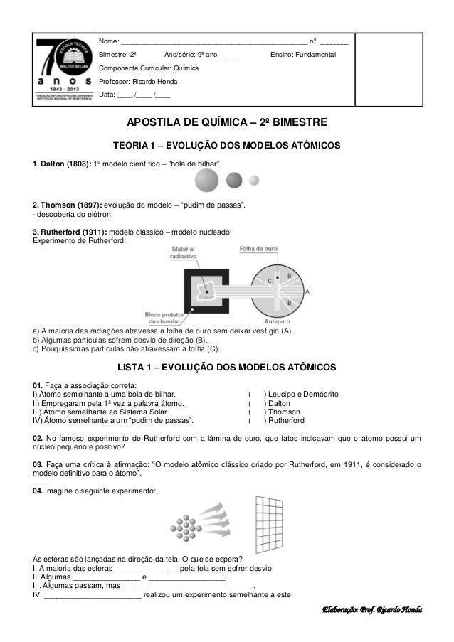 Elaboração: Prof. Ricardo Honda APOSTILA DE QUÍMICA – 2º BIMESTRE TEORIA 1 – EVOLUÇÃO DOS MODELOS ATÔMICOS 1. Dalton (1808...