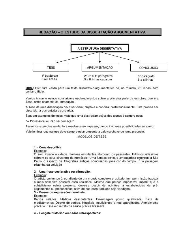 REDAÇÃO – O ESTUDO DA DISSERTAÇÃO ARGUMENTATIVA OBS.: Estrutura válida para um texto dissertativo-argumentativo de, no mín...