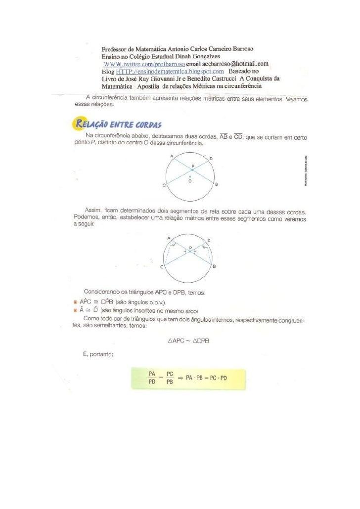 Apostila de relações métricas na circunferência