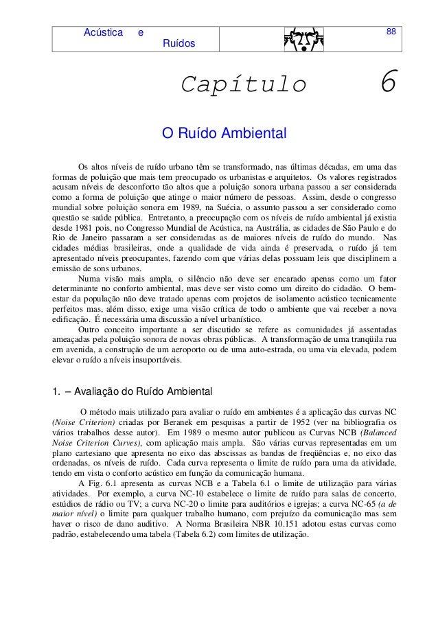Acústica e Ruídos 88 Capítulo 6 O Ruído Ambiental Os altos níveis de ruído urbano têm se transformado, nas últimas décadas...