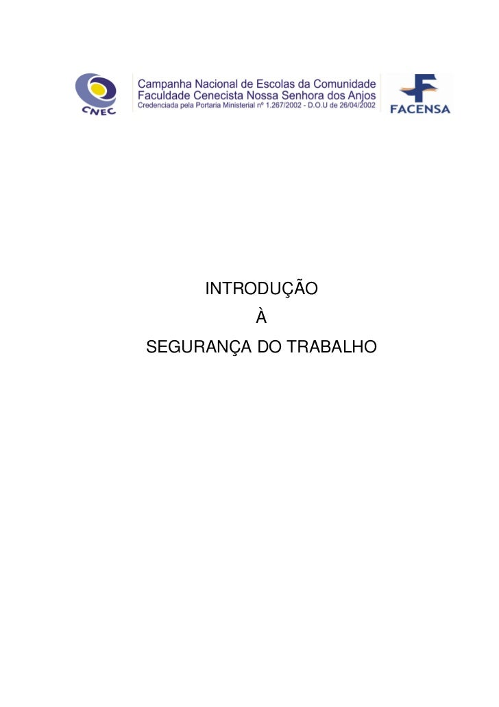 INTRODUÇÃO         ÀSEGURANÇA DO TRABALHO