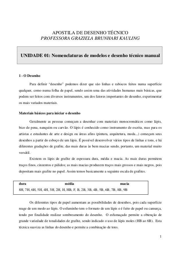 1 APOSTILA DE DESENHO TÉCNICO PROFESSORA GRAZIELA BRUNHARI KAULING UNIDADE 01: Nomenclaturas de modelos e desenho técnico ...