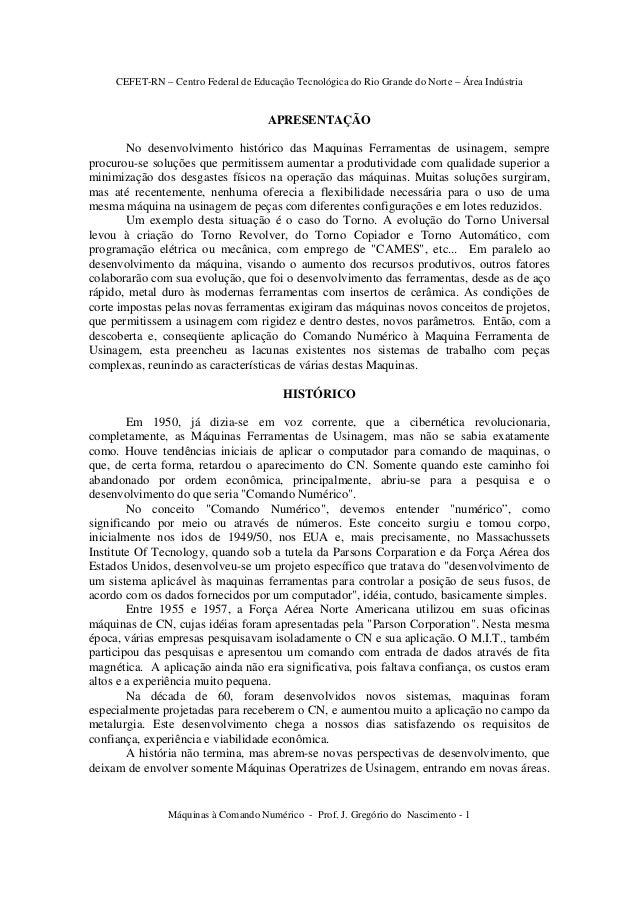 CEFET-RN – Centro Federal de Educação Tecnológica do Rio Grande do Norte – Área Indústria Máquinas à Comando Numérico - Pr...