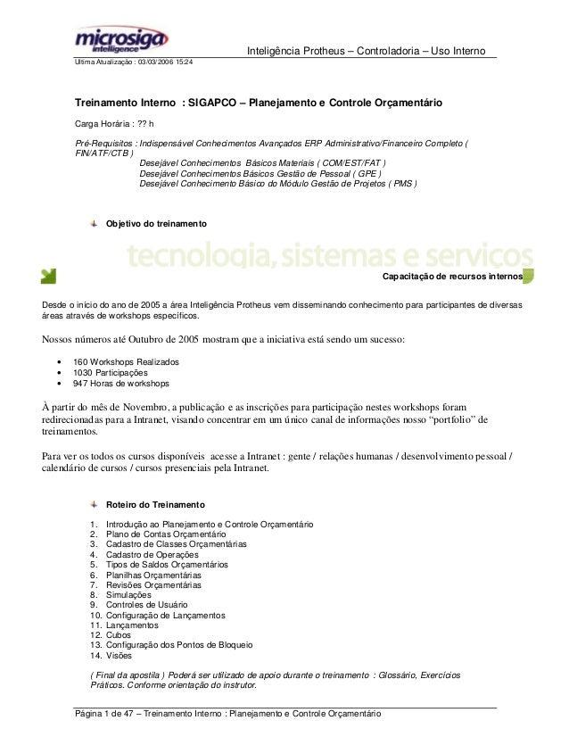 Inteligência Protheus – Controladoria – Uso Interno Ultima Atualização : 03/03/2006 15:24 Página 1 de 47 – Treinamento Int...