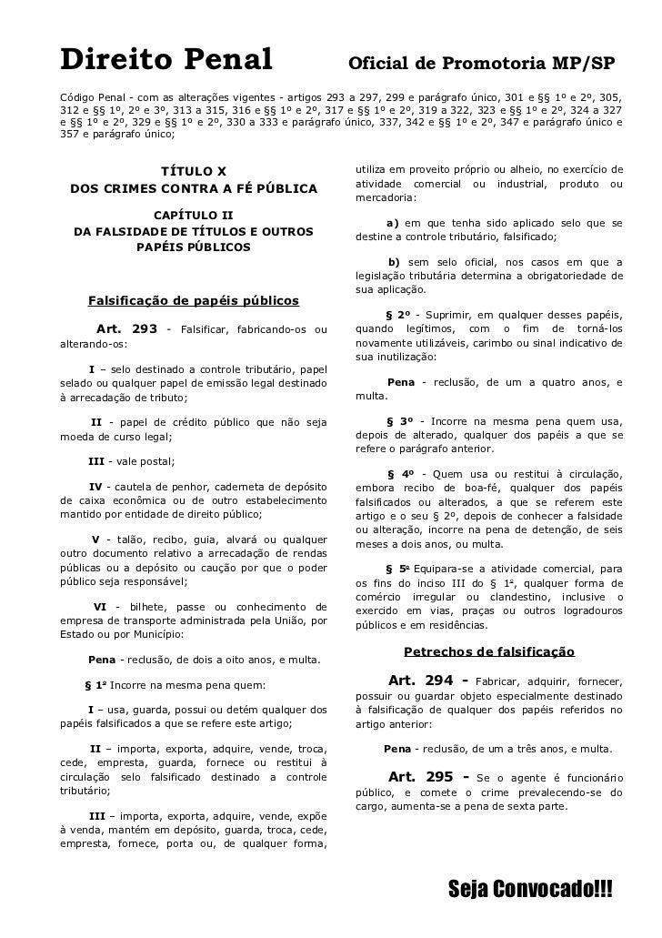 Direito Penal                                           Oficial de Promotoria MP/SPCódigo Penal - com as alterações vigent...