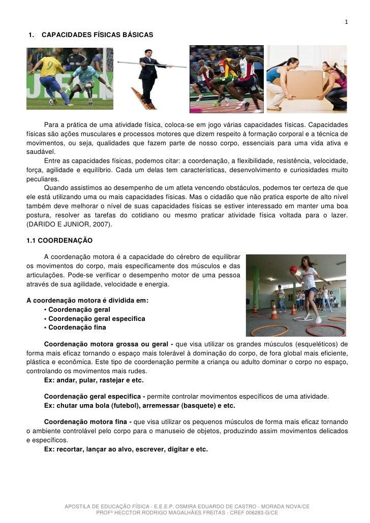 11.   CAPACIDADES FÍSICAS BÁSICAS      Para a prática de uma atividade física, coloca-se em jogo várias capacidades física...