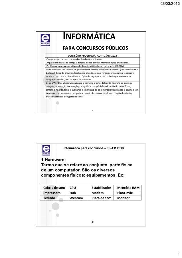 28/03/2013                  INFORMÁTICA                  PARA CONCURSOS PÚBLICOS                       CONTEÚDO PROGRAMÁTI...