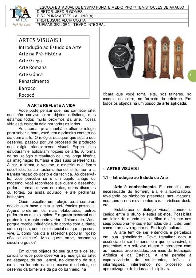 1 ARTES VISUAIS I Introdução ao Estudo da Arte Arte na Pré-História Arte Grega Arte Romana Arte Gótica Renascimento Barroc...