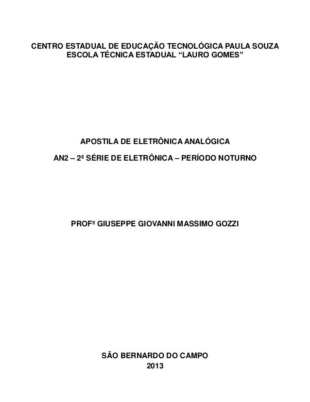 "ETEC LAURO GOMES 74 CENTRO ESTADUAL DE EDUCAÇÃO TECNOLÓGICA PAULA SOUZA ESCOLA TÉCNICA ESTADUAL ""LAURO GOMES"" APOSTILA DE ..."