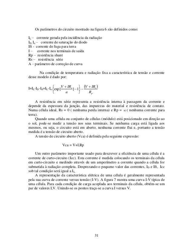 31 Os parâmetros do circuito mostrado na figura 6 são definidos como: IL – corrente gerada pela incidência da radiação ID,...