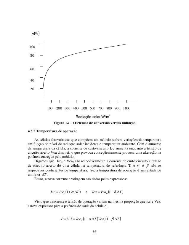 36 Figura 12 – Eficiência de conversão versus radiação 4.3.2 Temperatura de operação As células fotovoltaicas que compõem ...