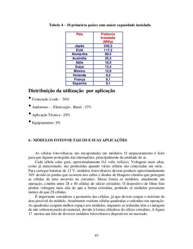 43 Tabela 4 – 10 primeiros países com maior capacidade instalada Distribuição da utilização por aplicação •Conectado à red...