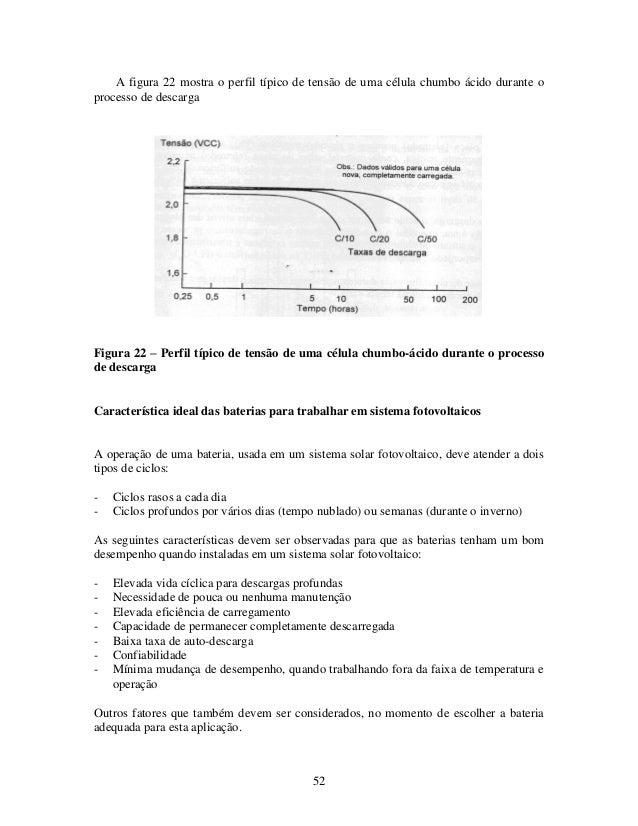 52 A figura 22 mostra o perfil típico de tensão de uma célula chumbo ácido durante o processo de descarga Figura 22 – Perf...
