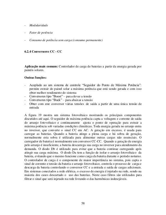 58 - Modularidade - Fator de potência - Consumo de potência sem carga (consumo permanente) 6.2.4 Conversores CC - CC Aplic...
