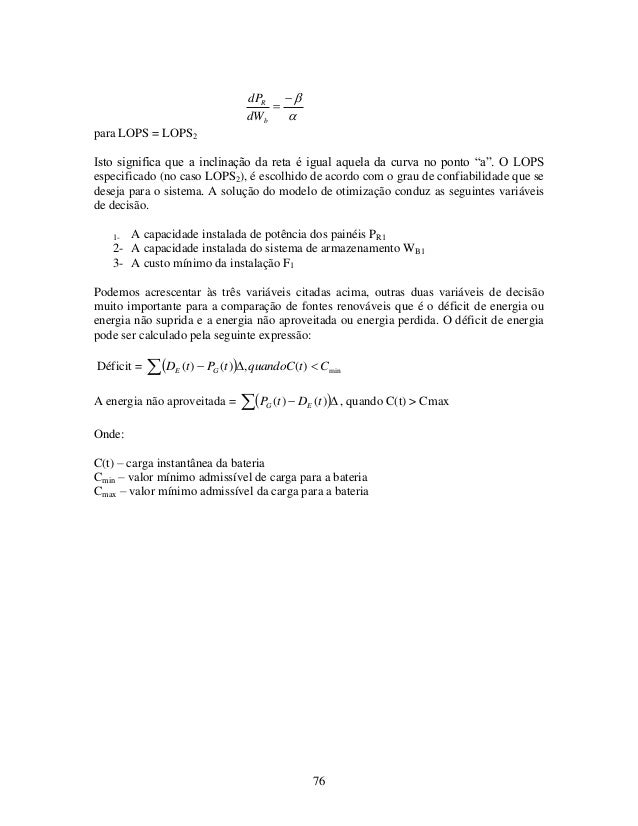 """76    b R dW dP para LOPS = LOPS2 Isto significa que a inclinação da reta é igual aquela da curva no ponto """"a"""". O LOPS..."""