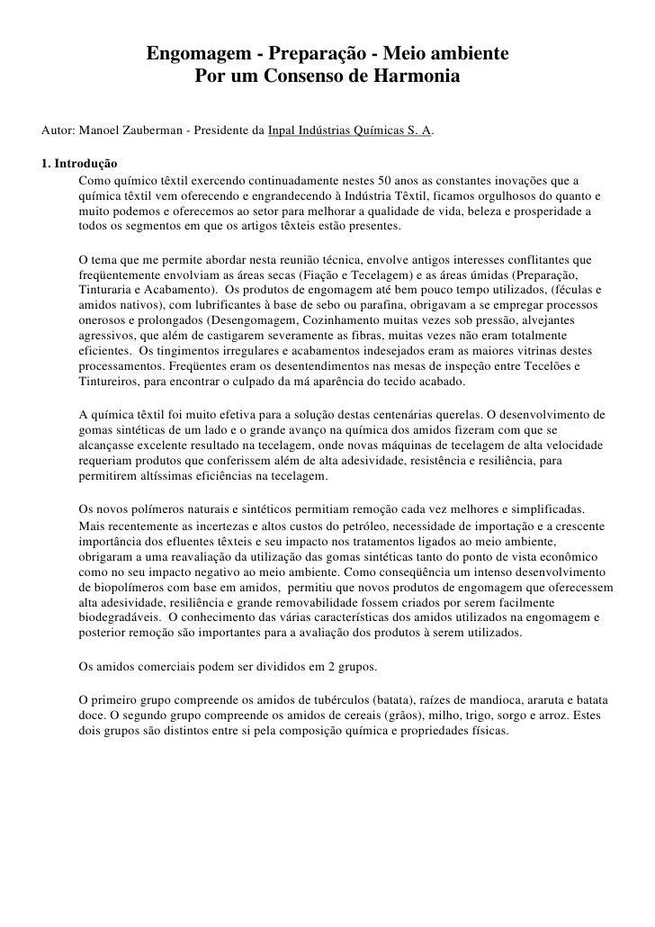 Engomagem - Preparação - Meio ambiente                       Por um Consenso de HarmoniaAutor: Manoel Zauberman - Presiden...