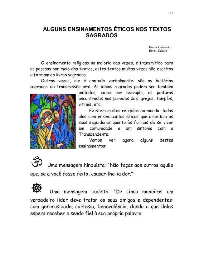 21      ALGUNS ENSINAMENTOS ÉTICOS NOS TEXTOS                  SAGRADOS                                                   ...