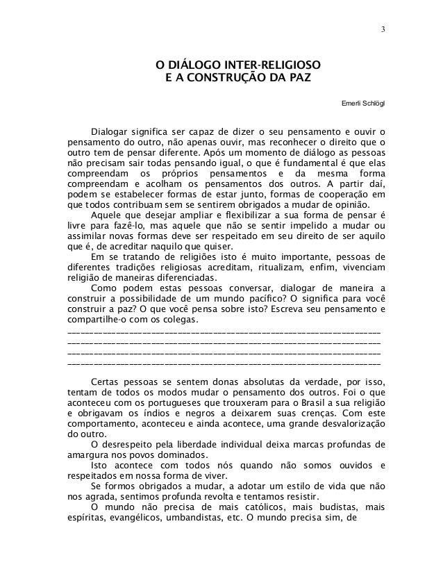 3                   O DIÁLOGO INTER-RELIGIOSO                    E A CONSTRUÇÃO DA PAZ                                    ...