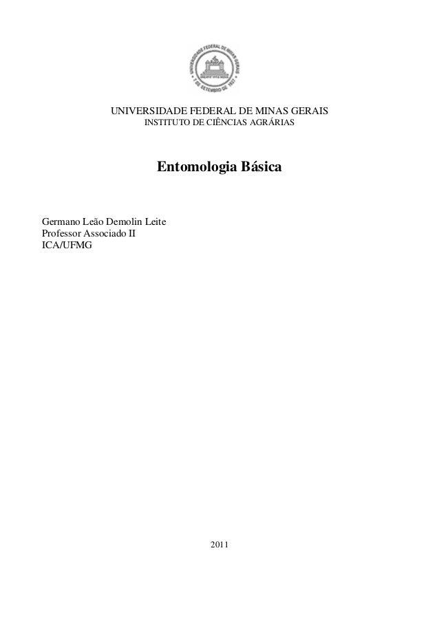 UNIVERSIDADE FEDERAL DE MINAS GERAIS INSTITUTO DE CIÊNCIAS AGRÁRIAS Entomologia Básica Germano Leão Demolin Leite Professo...