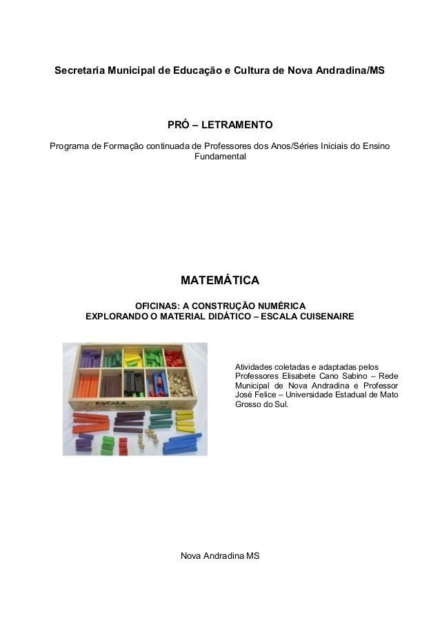 Secretaria Municipal de Educação e Cultura de Nova Andradina/MS PRÓ – LETRAMENTO Programa de Formação continuada de Profes...