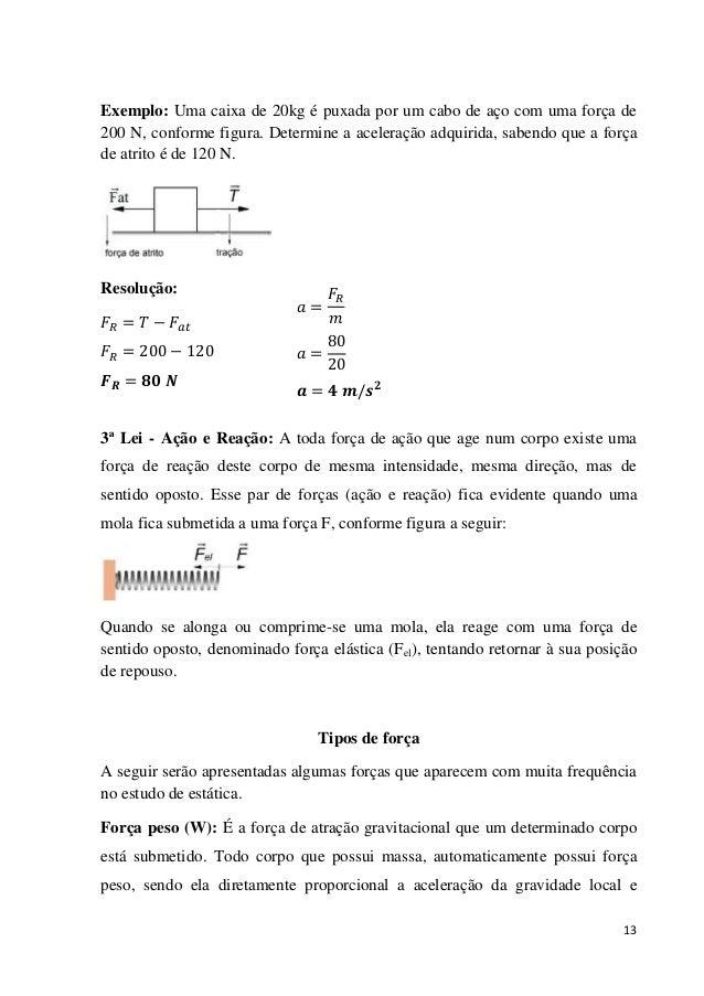 13 Exemplo: Uma caixa de 20kg é puxada por um cabo de aço com uma força de 200 N, conforme figura. Determine a aceleração ...