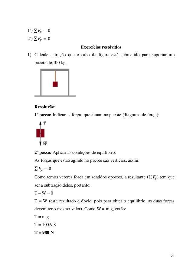 21 1ª) 2ª) Exercícios resolvidos 1) Calcule a tração que o cabo da figura está submetido para suportar um pacote de 100 kg...