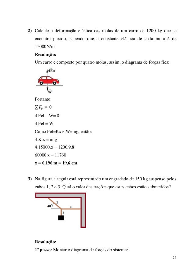 22 2) Calcule a deformação elástica das molas de um carro de 1200 kg que se encontra parado, sabendo que a constante elást...