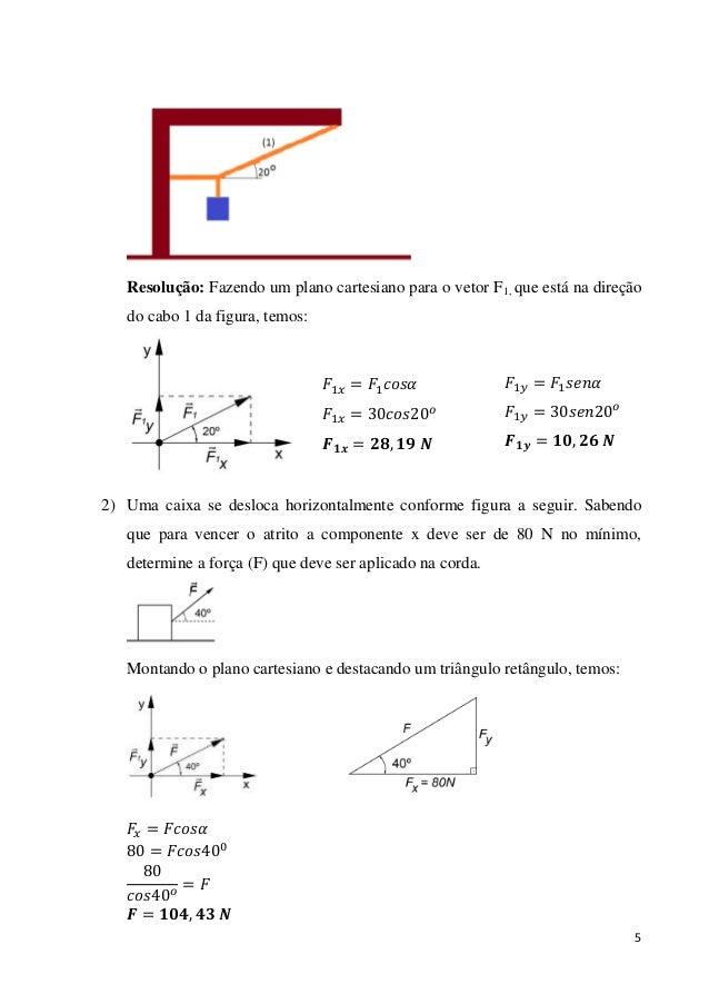 5 Resolução: Fazendo um plano cartesiano para o vetor F1, que está na direção do cabo 1 da figura, temos: 2) Uma caixa se ...