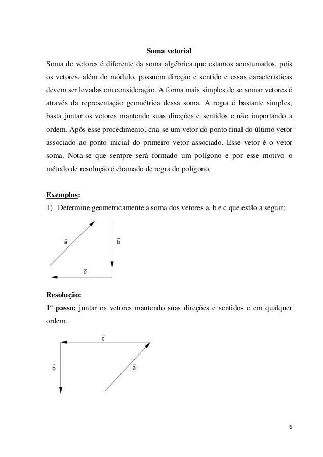 6 Soma vetorial Soma de vetores é diferente da soma algébrica que estamos acostumados, pois os vetores, além do módulo, po...