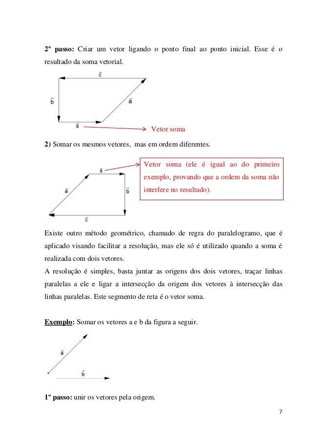 7 2º passo: Criar um vetor ligando o ponto final ao ponto inicial. Esse é o resultado da soma vetorial. Vetor soma 2) Soma...