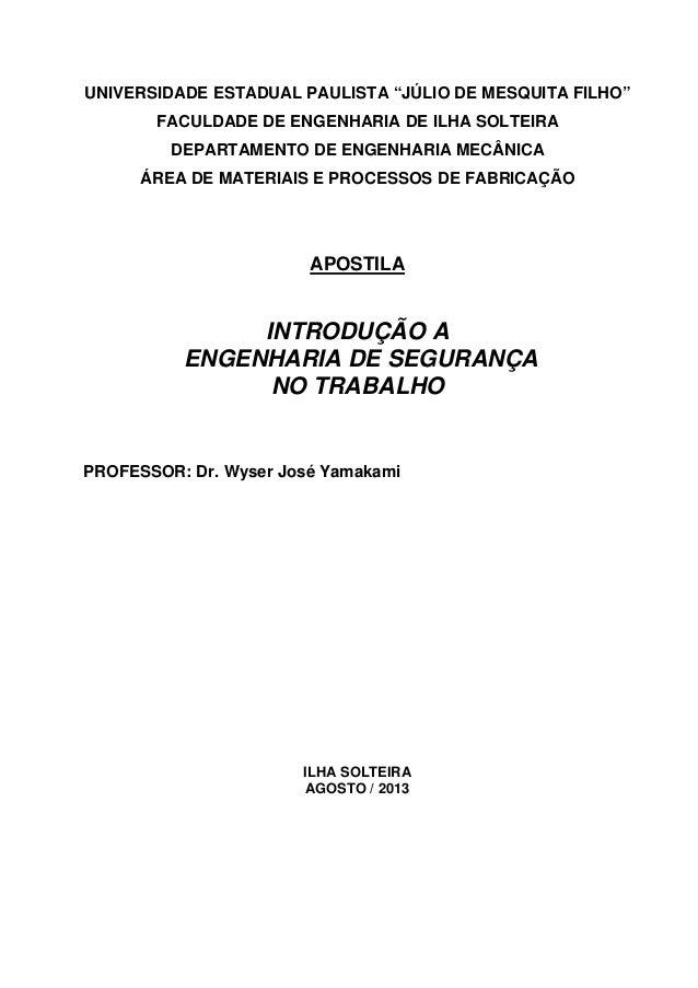 """UNIVERSIDADE ESTADUAL PAULISTA """"JÚLIO DE MESQUITA FILHO"""" FACULDADE DE ENGENHARIA DE ILHA SOLTEIRA DEPARTAMENTO DE ENGENHAR..."""