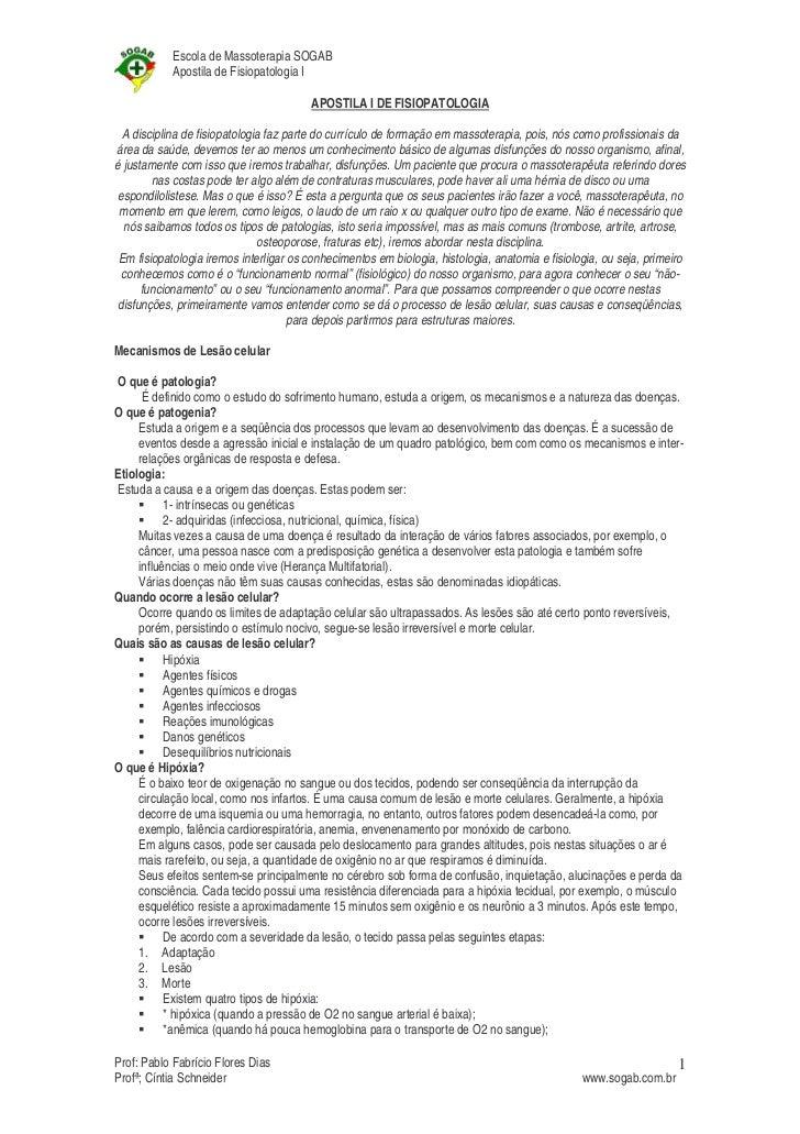 Escola de Massoterapia SOGAB            Apostila de Fisiopatologia I                                        APOSTILA I DE ...