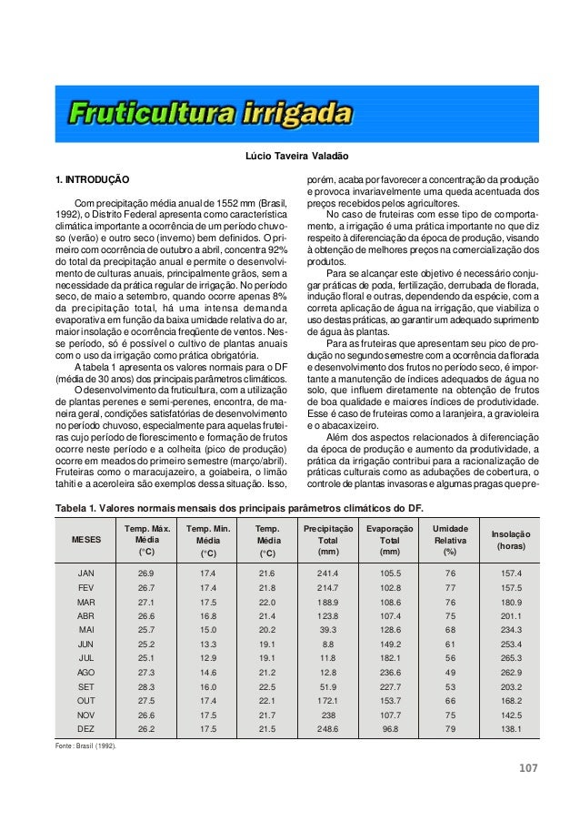 107 1. INTRODUÇÃO Com precipitação média anual de 1552 mm (Brasil, 1992), o Distrito Federal apresenta como característica...